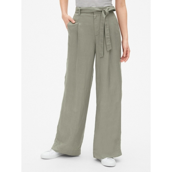 Gap High-rise Wide Leg Linen-blend Pants